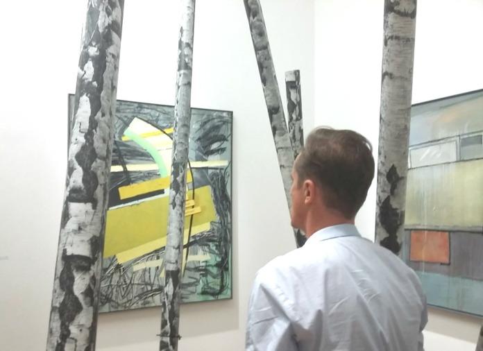 """Detail Ausstellungsansicht """"Jetzt geh ich in den Birkenwald, denn meine Pillen wirken bald"""""""